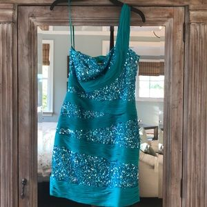 Marc Bouwer Glamit Teal One-Shoulder Sequined